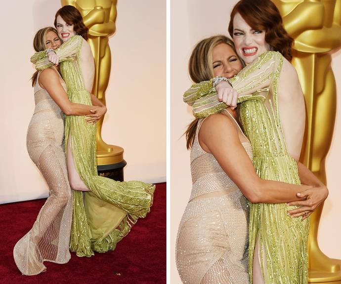All you need is your friends! Just ask Jennifer Aniston and Emma Stone. The duo put on a cosy display at the 2015 event.