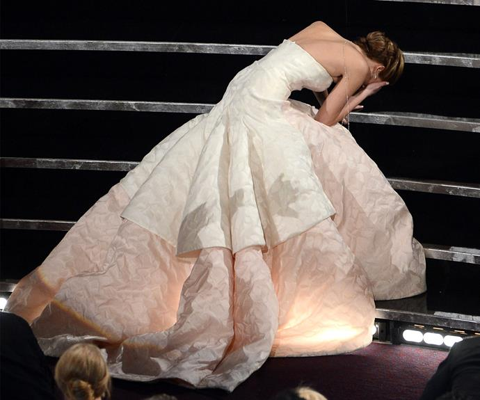 Jennifer Lawrence was the queen of drama following her adorable trip as she was en route to accepting her Best Actress gong in 2013 for *Silver Linings Playbook*.