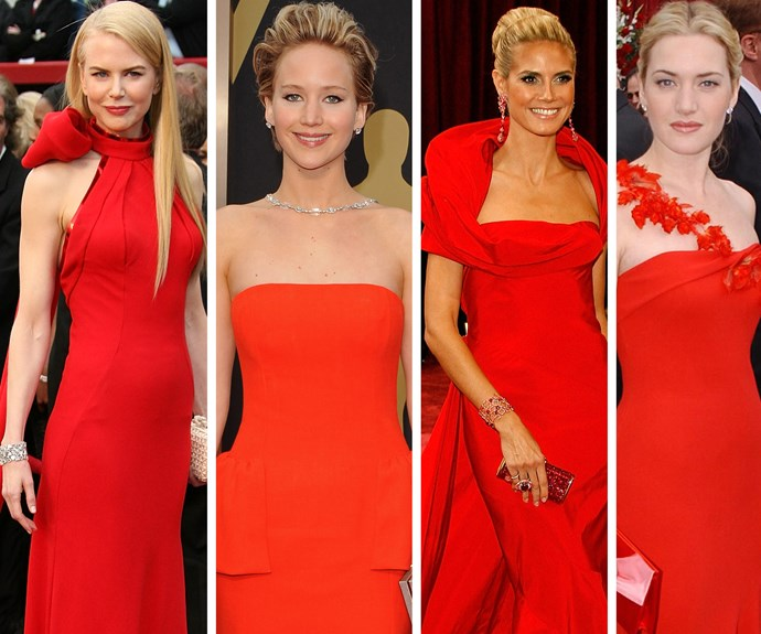 Ladies in red: Nicole Kidman, Jennifer Lawrence, Heidi Klum and Kate Winslet have sizzled over the years.