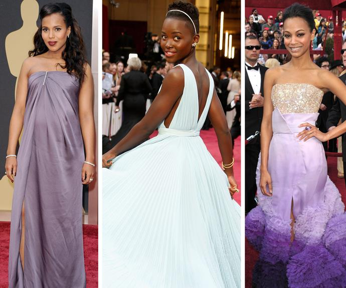 Violet delight: Dreaming of perfection is Kerry Washington, Lupita Nyong'o and Zoe Saldana.