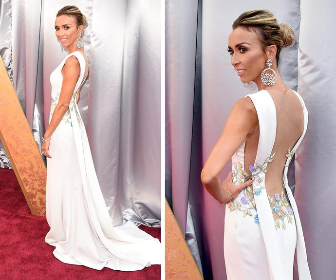 Giuliana stunned in a plunging white gown with floral detailings by Georges Chakra.