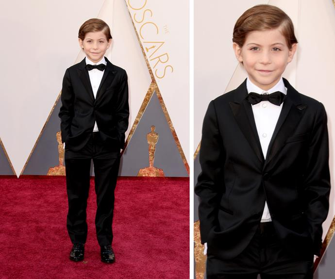Canadian actor Jacob Tremblay, nine, said he'll be cheering on his *Room* co-star Brie Larson, who is up for the Best Actress award.