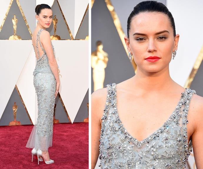 The force is with her! English beauty Daisy Ridley worked a Chanel Spring 2016 couture gown like a pro.