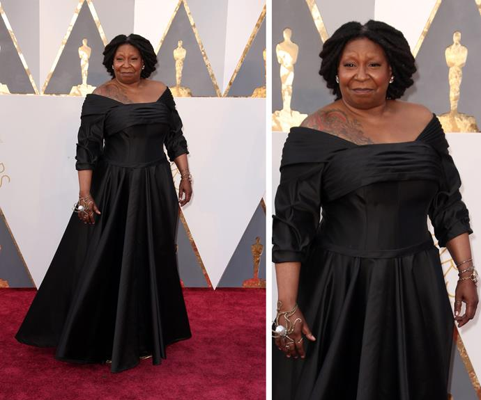 Legendary actress Whoopi Goldberg kept things classic in a long-sleeved black dress.