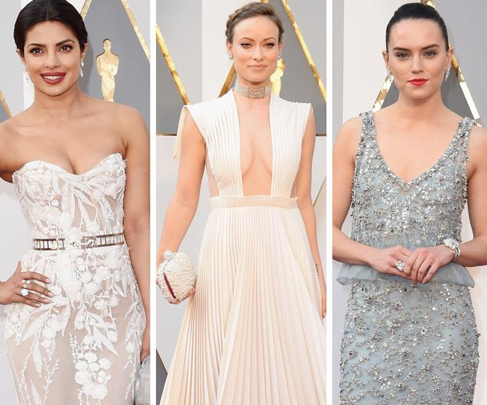 It's all white! (L-R) Priyanka Chopra, Olivia and Daisy worked shades of white and grey.