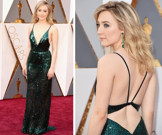 Best Actress nominee Saoirse Ronan, 21, looked heavenly in this glittering green masterpiece by Calvin Klein. The Irish-American stunner was first given an Oscar nomination at the tender age of 13 for her role in *Atonement*.