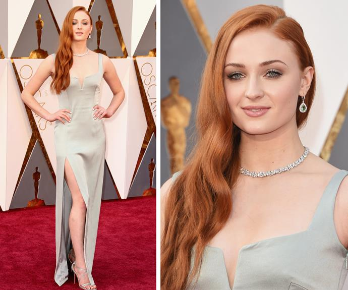 *Game of Thrones* star Sophie Turner oozed elegance in this champagne-coloured gown.