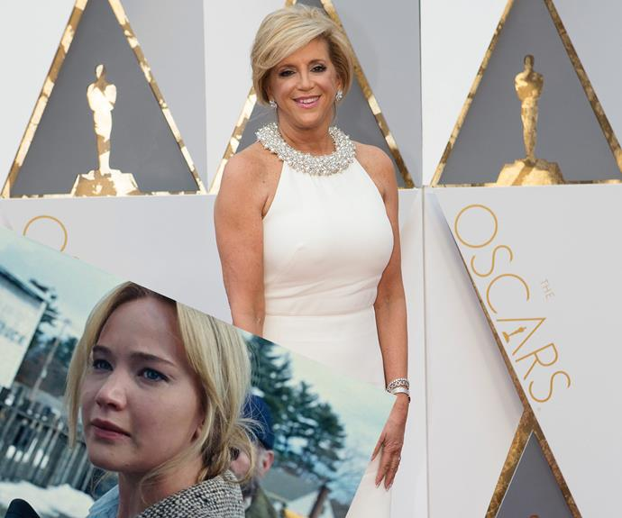 Joy Mangano looks Hollywood glam as she walked the red carpet. Her life was brought to life by Best Actress nominee, Jennifer Lawrence in *Joy*.