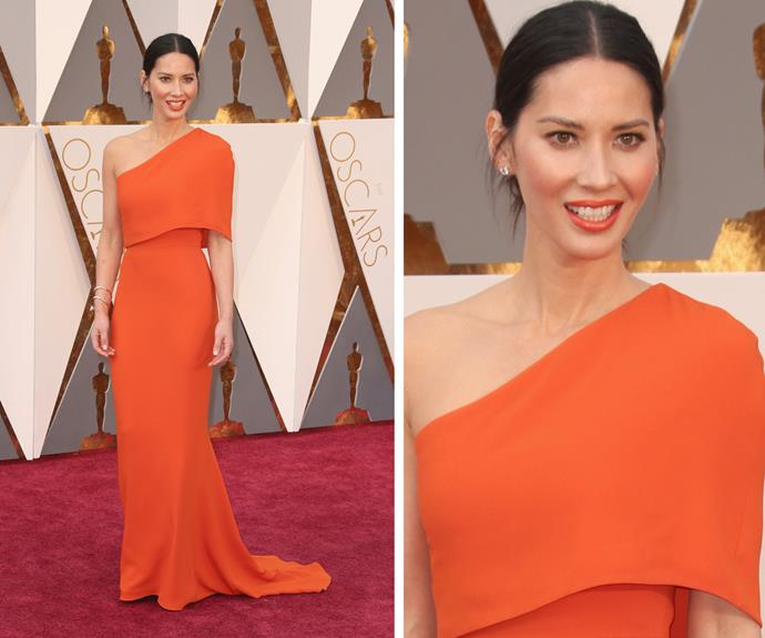 Olivia Munn was a tangerine dream in a Stella McCartney number.