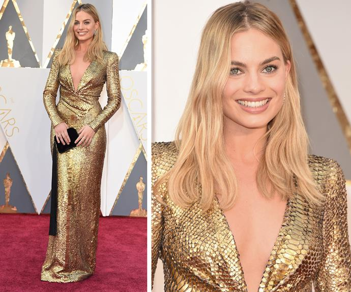Golden girl Margot Robbie was channelled an actual Oscar and we love it!