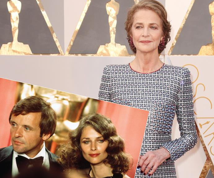 Hollywood icon Charlotte Rampling oozes sophistication in her bejewelled outfit. The 70-year-old joined Anthony Hopkins back in 1976 for the 48th Academy Awards (inset).