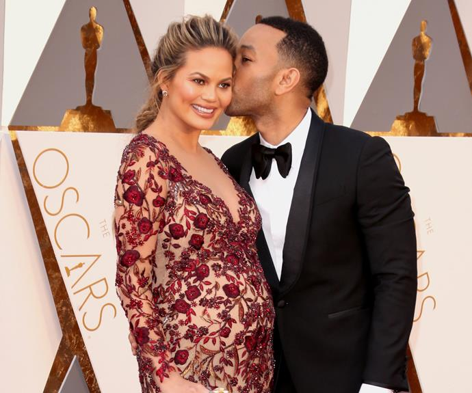 Mother-to-be Chrissy Teigen revealed she had to get sewn into her frock! Meanwhile, how smitten does her hubby John Legend look?