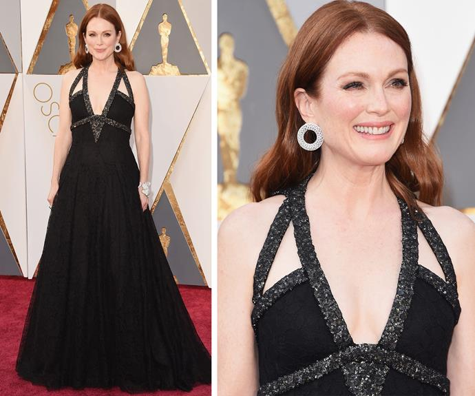 Julianne Moore cut a classic silhouette in a black dress.