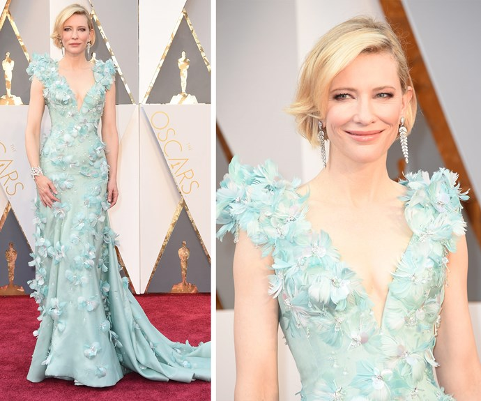 In 2016, the Best Actress nominee opted for a sea-foam green gown by Armani.