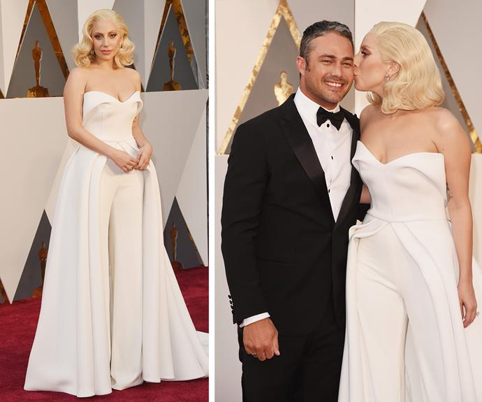 They're about to get married and it looked like Lady Gaga opted for a bridal-inspired white ensemble as she smooched fiance Taylor Kinney.