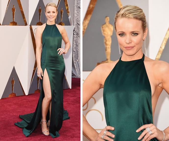 Best Supporting Actress nominee Rachel McAdams kept things classy in an emerald green dress with a daring split.
