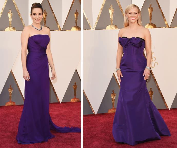 Twinning! Tina Fey and Reese Witherspoon worked very similar violet styles.
