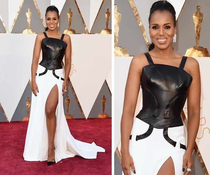 Kerry Washington mixed things up with a leather bodice and flowing white maxi-skirt.