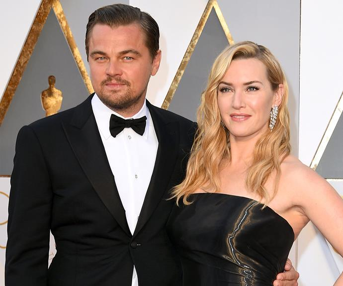 THAT'S how you make an entrance! Best Actor nominee Leonardo DiCaprio walked the red carpet with his *Titanic* co-star and BFF, Kate Winslet.