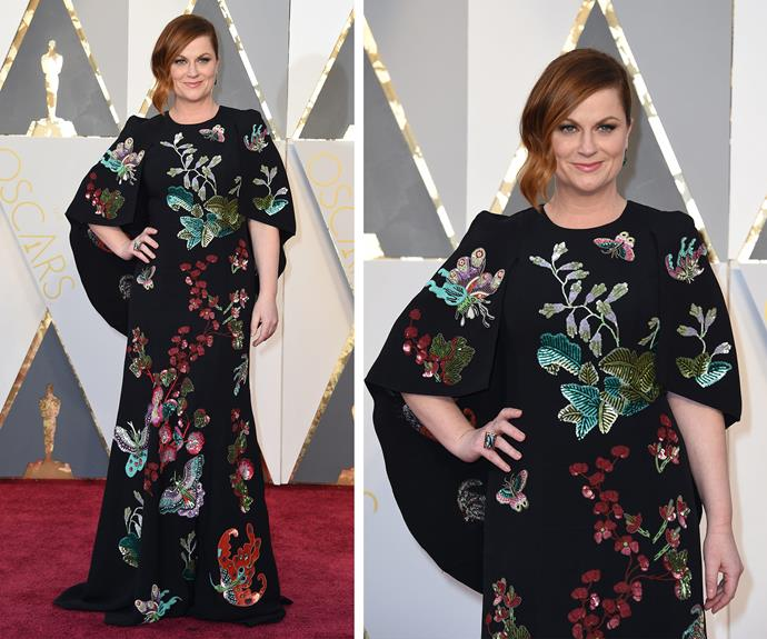 Amy Poehler worked a floral dress.