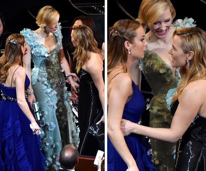 There was no rivalry between Best Actress nominees Cate and Brie as they chatted to Kate Winslet.