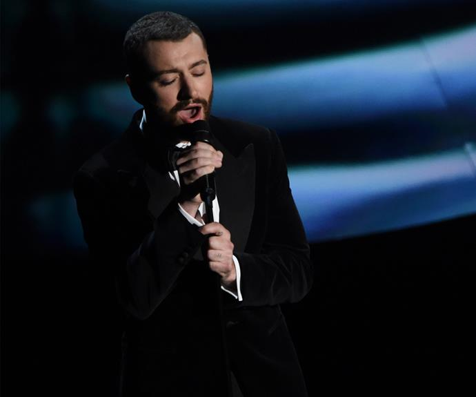 Sam Smith belts out the nominated Bond song, *Writings on the Wall*.