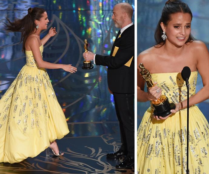"""I share this with our fabulous crew and cast. Thank you so much for your support and belief in me and Eddie [Redmayne], thank you for being the best acting partner. I couldn't have done it without you, you raised my game,"" Alicia Vikander said as she won the Oscar for Best Supporting Actress for her role in *The Danish Girl*."