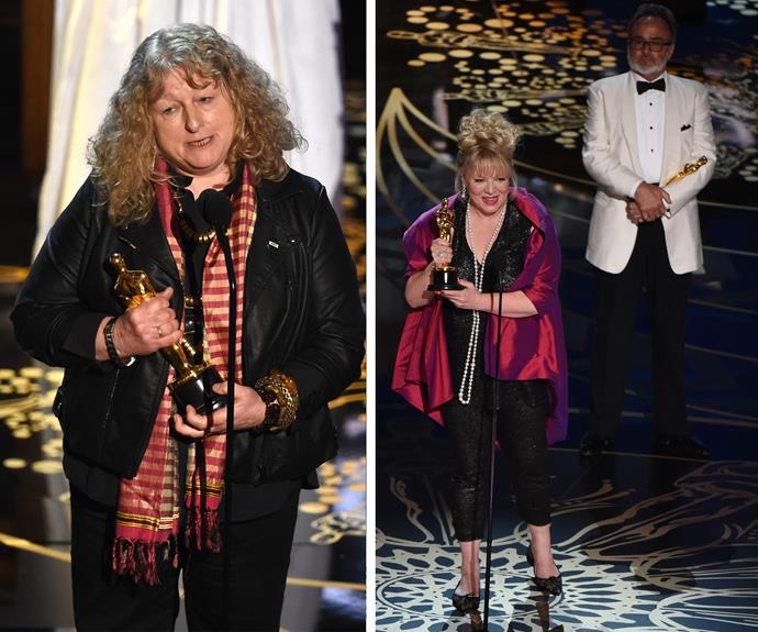 Mad Max has already taken out two huge awards: (R) Colin Gibson and Lisa Thompson accept their award for Best Production Design while Costume designer Jenny Beavan takes home the Best Costume Design award.