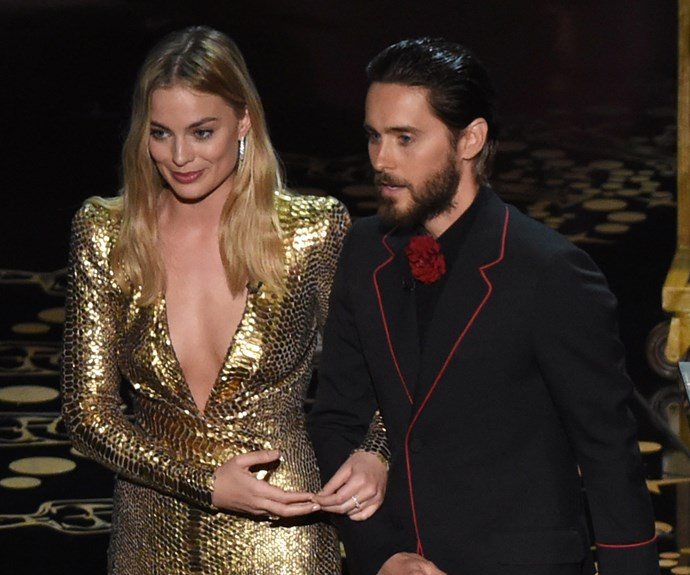 Australia's golden girl Margot Robbie takes to the stage with Jared Leto to present an award.
