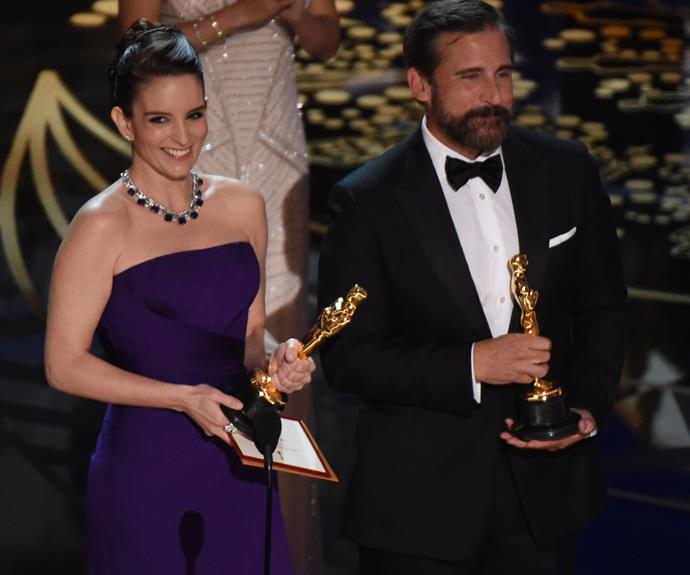 Tina Fey and Steve Carrell brought the funny as they presented a gong.