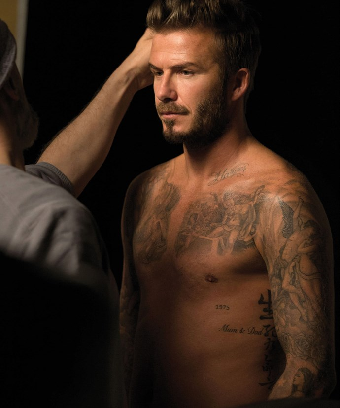 Like father, like son. David has famously been inked numerous times.