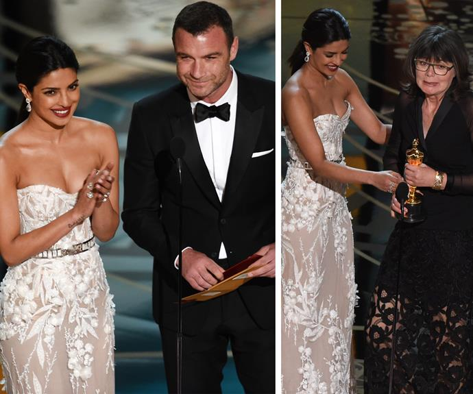 Liev Schreiber and Priyanka Chopra present the award for Best Achievement in Film Editing to *Mad Max*'s film editor, Margaret Sixel.