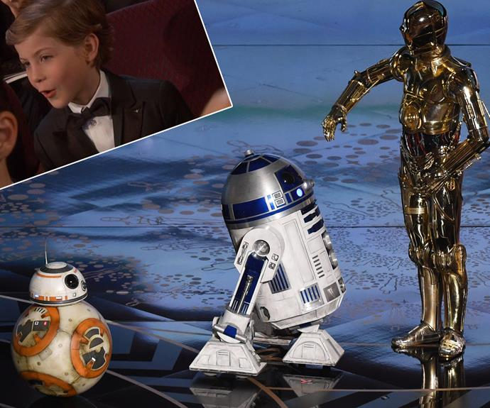 Jacob Tremblay was stoked with the *Star Wars* scene on stage.