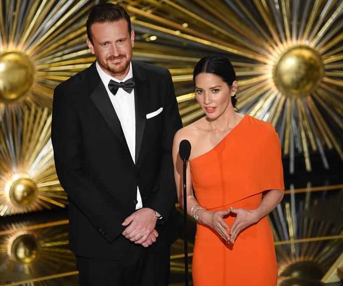 Jason Segal and Olivia Munn worked the crowd.