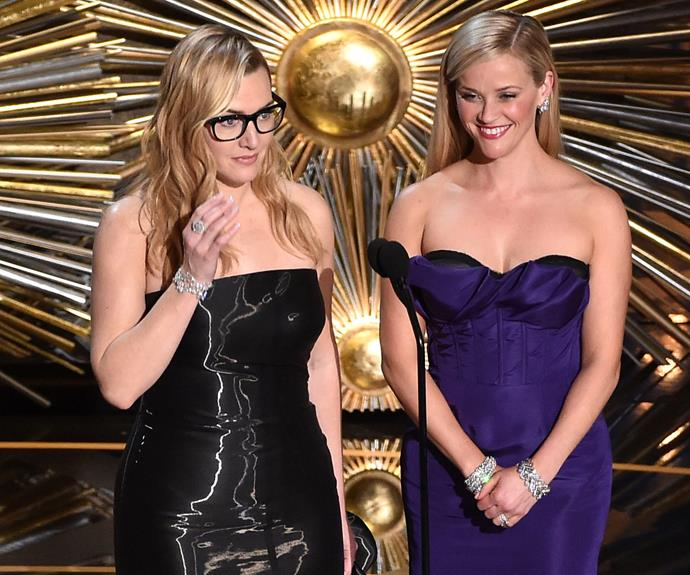 Reese seems pretty chuffed with how stunning Kate looks in those glasses.