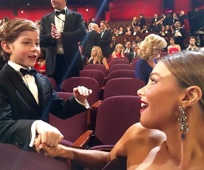 Too cute! Sofia Vergara shared this sweet behind-the-scenes snap with Jacob Tremblay.