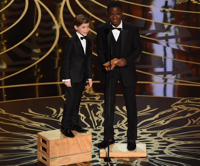 Adorable! Jacob Tremblay and Abraham Attah had to stand on crates to give them a little boost as they took to the stage.