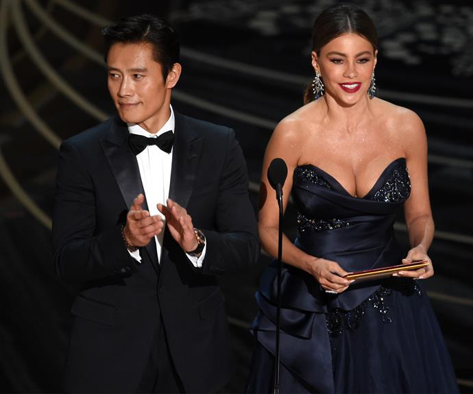 Sofia Vergara was joined by South Korean actor Byung-hun Lee to present the Best Foreign Language Film, which went to *Son of Saul*.