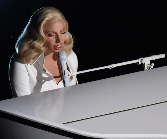 So powerful! Lady Gaga had the audience in tears as she sung *Til It Happens To You*.