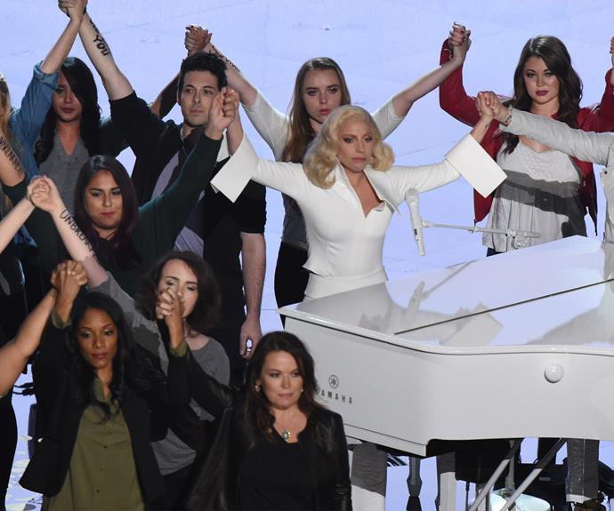 Gaga was joined on stage with survivors of sexual assault.