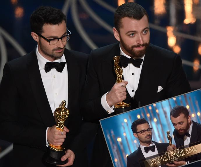 Sam Smith and Jimmy Napes win big for the Best Original Song thanks to their smash hit *Writing's On The Wall* from *Spectre*.