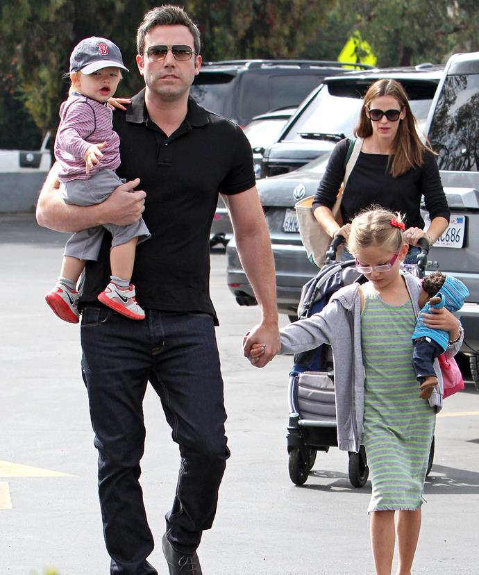 Family day out: Mum and Dad spotted with kids Violet Affleck and Samuel Affleck.