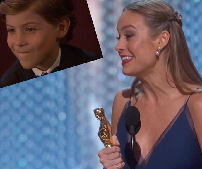 *Room* actress Brie Larson wins Best Actress in a Leading Role! Her co-star Jacob (inset) was beyond proud.