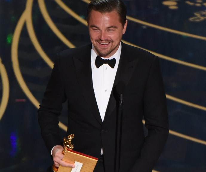 "FINALLY! Last year, Leonardo DiCaprio landed his first Oscar after six nominations. ""Climate change is real, it is happening right now. It is the most urgent threat facing our entire species. We need to work collectively together and stop procrastinating. Let us not take this planet for granted, I do not take tonight for granted,"" the passionate environmentalist said during his acceptance speech for Best Actor in *The Revenant*."