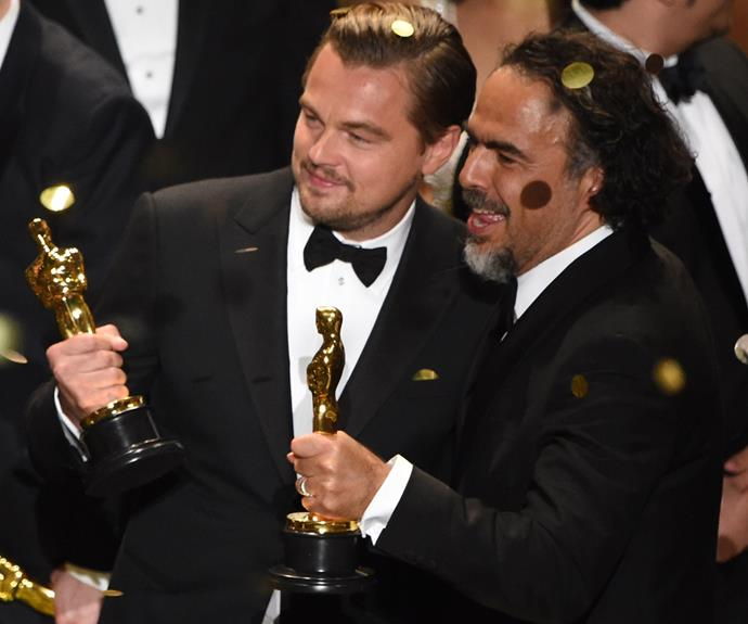 "FINALLY! This is Leonardo DiCaprio's first Oscar in six nominations. ""Climate change is real, it is happening right now. It is the most urgent threat facing our entire species. We need to work collectively together and stop procrastinating. Let us not take this planet for granted, I do not take tonight for granted,"" the passionate environmentalist said during his acceptance speech for Best Actor in *The Revenant*."