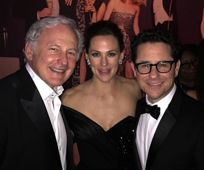 Jen had an *Alias* reunion with Victor Garber and J.J. Abrams.