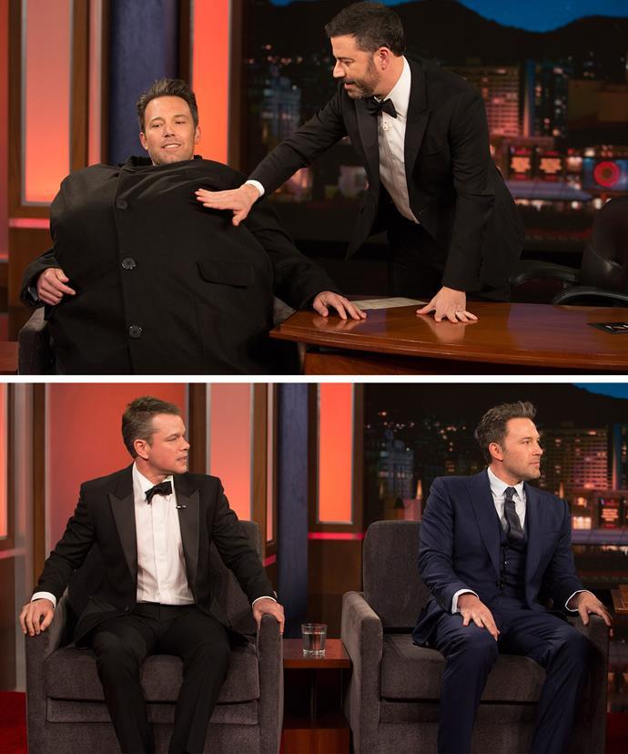 What's hiding under that jacket... Only Jimmy's arch nemesis, Matt Damon!