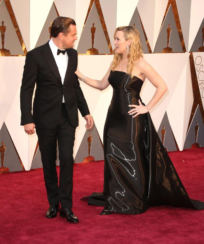The *Titanic* star, who walked the Oscars red carpet with Leonardo DiCaprio, opted for a flowing black gown, which would have perfectly concealed the early stages of a baby bump.
