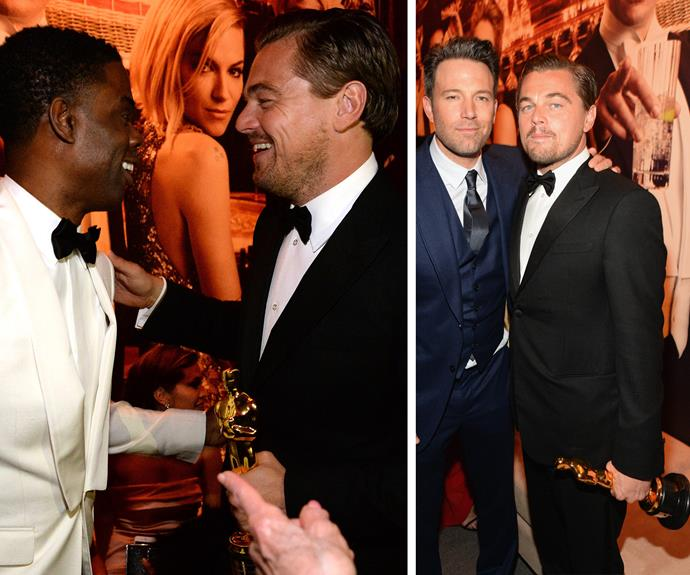 Don't Let Go! Chris Rock congratulates the actor while Ben Affleck strikes a pose with his friend. Unlike Rose, Jack - we mean Leo - won't let go of that Oscar!