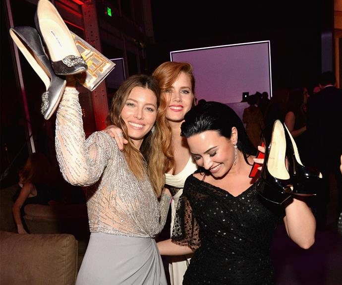 Girls just wanna have fun! Jessica Biel and Demi Lovato put their foot down and heels off for fab night, while Amy Adams maintain Hollywood perfection.
